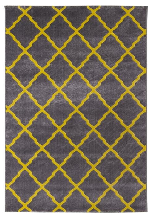Toscana Lattice Geometric Rug Grey Yellow